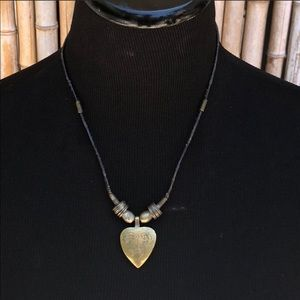 Brass Heart Pendant & Leather Cord Necklace 17""